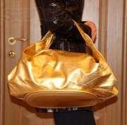 золотистая сумка,  большая