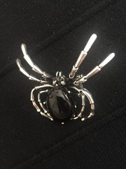 Брошь паук,  в подарочной сумочке ручной работы